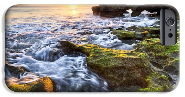 Tidal Photographs iPhone Cases - Coral Cascades iPhone Case by Debra and Dave Vanderlaan