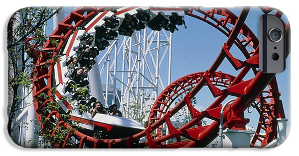 Rollercoaster Photographs iPhone Cases - Corkscrew Coil On A Rollercoaster Ride iPhone Case by Kaj R. Svensson