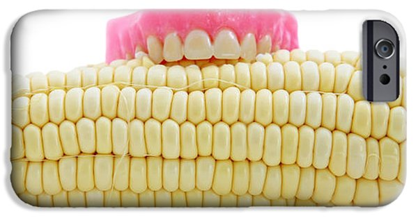 Healthcare And Medicine iPhone Cases - Corn On The Cob With False Teeth  iPhone Case by Michael Ledray