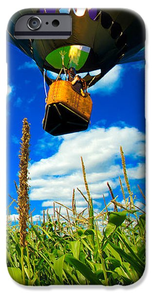 Cornfield View Hot Air Balloons iPhone Case by Bob Orsillo