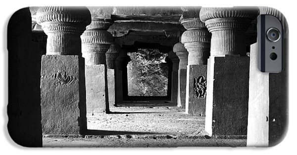 Ancient iPhone Cases - Corridor At Elora Caves India iPhone Case by Sumit Mehndiratta