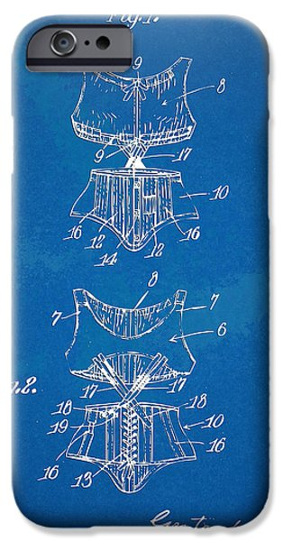 Corset iPhone Cases - Corset Patent Series 1907 iPhone Case by Nikki Marie Smith