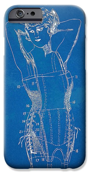 Corset iPhone Cases - Corset Patent Series 1924 Figure 1 iPhone Case by Nikki Marie Smith