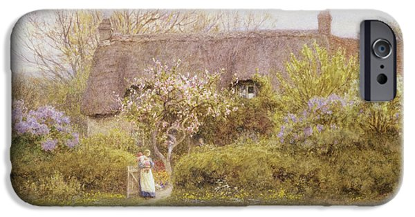 Country iPhone Cases - Cottage Freshwater Isle of Wight iPhone Case by Helen Allingham