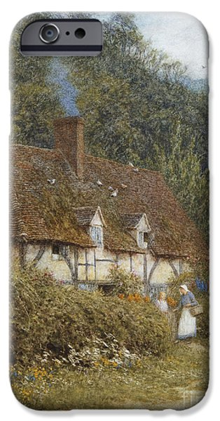 Country Lanes iPhone Cases - Cottage near Witley Surrey iPhone Case by Helen Allingham