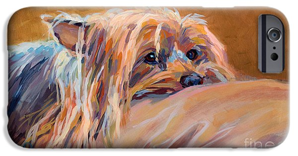 Yorkshire Terrier Art iPhone Cases - Couch Potato iPhone Case by Kimberly Santini
