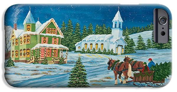 Snow Scene Paintings iPhone Cases - Country Christmas iPhone Case by Charlotte Blanchard