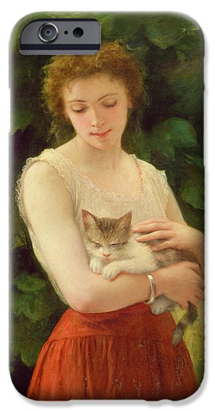 Nineteenth iPhone Cases - Country Girl and her Kitten iPhone Case by Charles Landelle