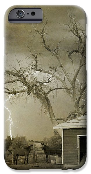 Country Horses Lightning Storm NE Boulder CO 66V BW ART iPhone Case by James BO  Insogna
