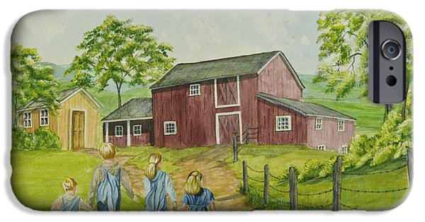 Country Shed iPhone Cases - Country Kids iPhone Case by Charlotte Blanchard