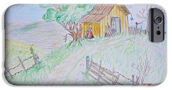 Shed Drawings iPhone Cases - Country Woodshed iPhone Case by Debbie Portwood