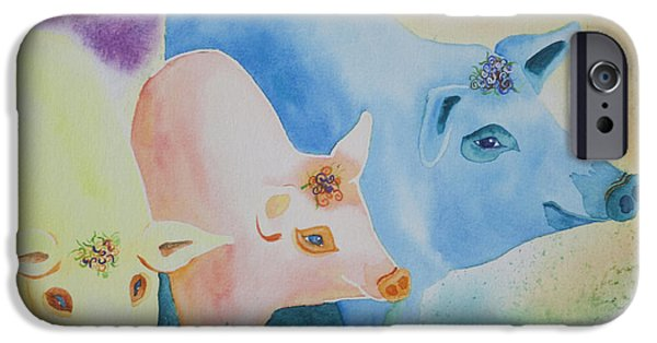 Piglets Paintings iPhone Cases - County Fair iPhone Case by Tracy L Teeter