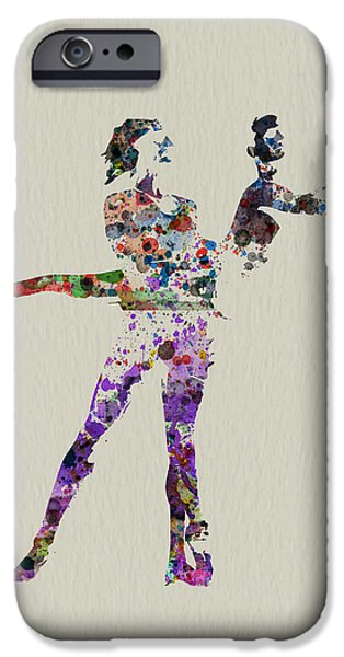 Relationship Paintings iPhone Cases - Couple dancing iPhone Case by Naxart Studio