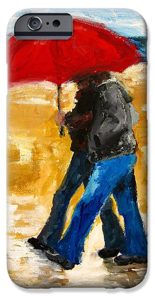 Rainy Day iPhone Cases - Couple under a Red Umbrella iPhone Case by Patricia Awapara
