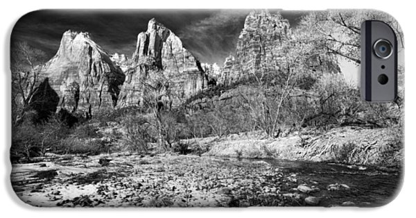 Patriarch iPhone Cases - Court Of The Patriarchs II - BW iPhone Case by Christopher Holmes