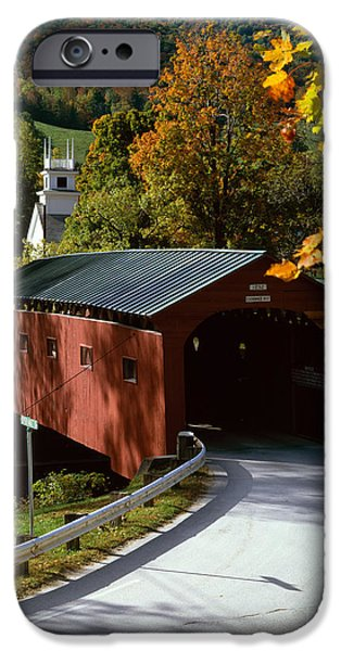 Covered Bridge in Vermont iPhone Case by Rafael Macia and Photo Researchers