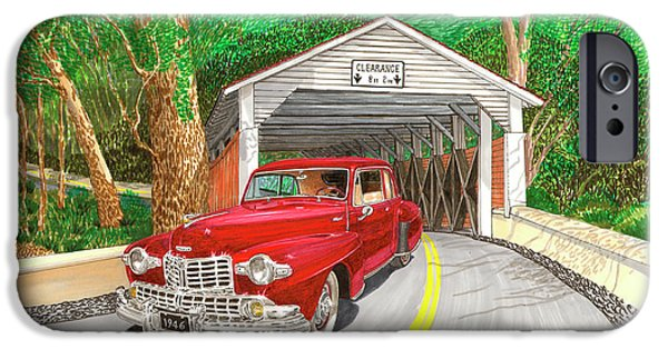 Covered Bridge Paintings iPhone Cases - Covered Bridge Lincoln iPhone Case by Jack Pumphrey