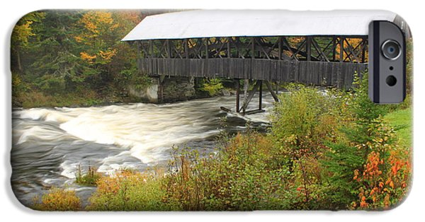 Covered Bridge iPhone Cases - Covered Bridge over Connecticut River Pittsburg NH iPhone Case by John Burk
