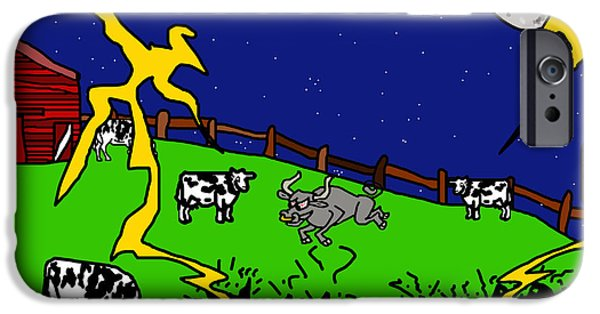Puppy Digital Art iPhone Cases - Cow Tipping iPhone Case by Jera Sky