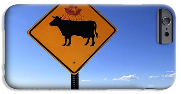 Cow Humorous iPhone Cases - Cow UFO Road Sign  iPhone Case by Ann Powell