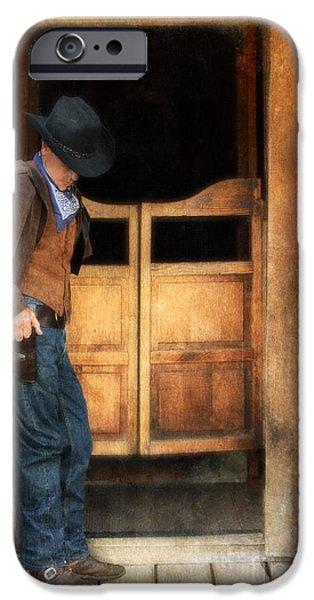 Cowboy Gear iPhone Cases - Cowboy by Saloon Doors iPhone Case by Jill Battaglia