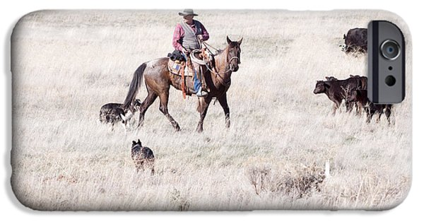 Working Cowboy Photographs iPhone Cases - Cowboy iPhone Case by Cindy Singleton