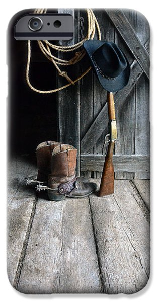 Cowboy Gear iPhone Cases - Cowboy Hat Boots Lasso and Rifle iPhone Case by Jill Battaglia