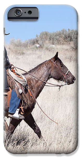 Cowboy on Horseback iPhone Case by Cindy Singleton
