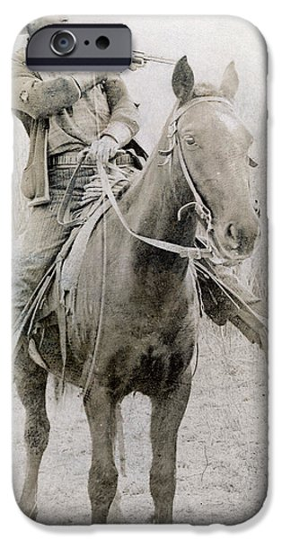 Dixon iPhone Cases - COWBOY ROBBER, c1900 iPhone Case by Granger