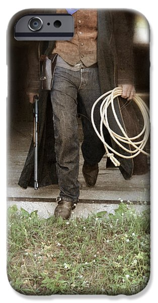 Cowboy Gear iPhone Cases - Cowboy with Guns and Rope iPhone Case by Jill Battaglia