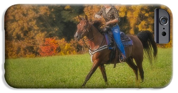 Horse Racing Photographs iPhone Cases - Cowgirl iPhone Case by Susan Candelario