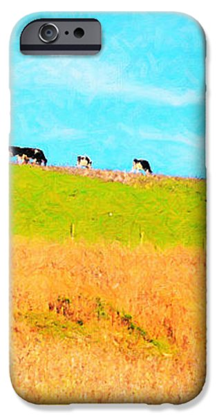 Cows On A Hill . 40D3430 . Painterly . Long Cut iPhone Case by Wingsdomain Art and Photography