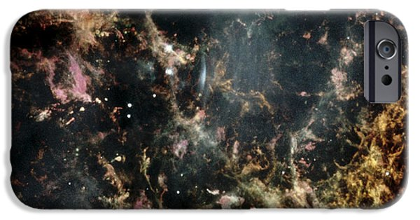 Astrophysics iPhone Cases - Crab Nebula Gas Filaments iPhone Case by Nasaesastscihubble Heritage Team