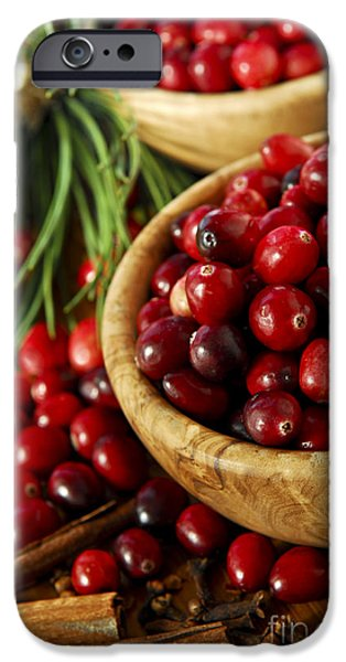 Wooden Bowl iPhone Cases - Cranberries in bowls iPhone Case by Elena Elisseeva