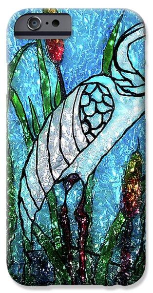 Paint Glass Art iPhone Cases - Elegant White Heron iPhone Case by Farah Faizal