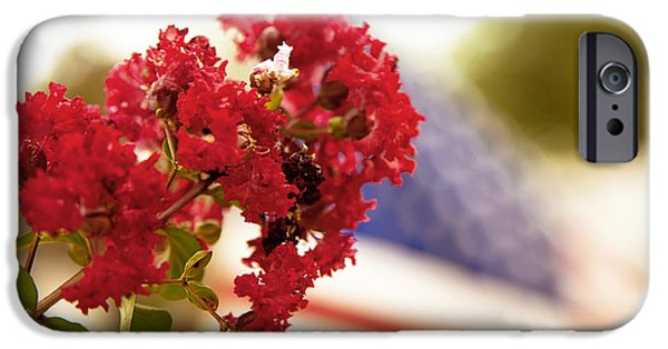 Floral Photographs iPhone Cases - Crapemyrtle and Patriotic proud iPhone Case by Toni Hopper