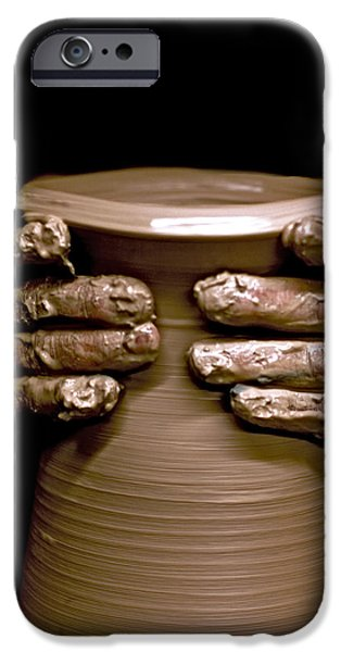 Hand Thrown Pottery Photographs iPhone Cases - Creation at the Potters Wheel iPhone Case by Rob Travis