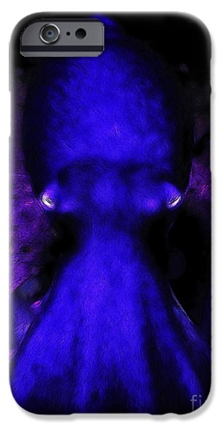 Creatures of The Deep - The Octopus - v4 - Blue iPhone Case by Wingsdomain Art and Photography