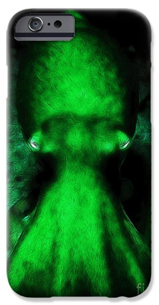 Creatures of The Deep - The Octopus - v4 - Green iPhone Case by Wingsdomain Art and Photography