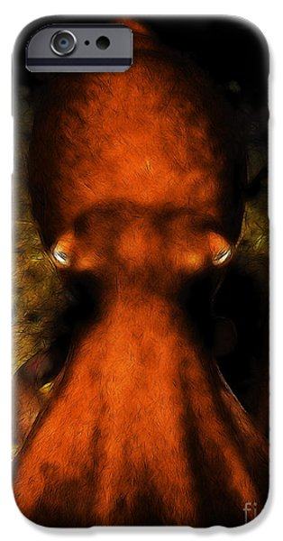 Creatures of The Deep - The Octopus - v4 - Orange iPhone Case by Wingsdomain Art and Photography