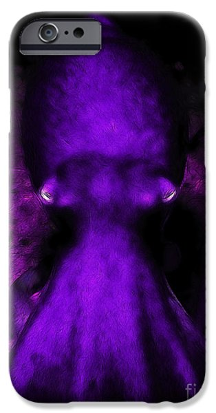 Creatures of The Deep - The Octopus - v4 - Purple iPhone Case by Wingsdomain Art and Photography