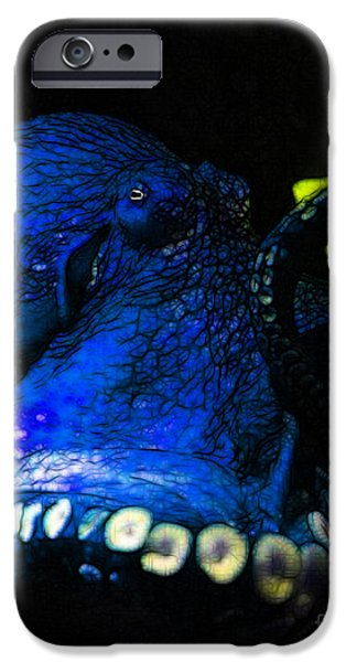 Creatures of The Deep - The Octopus - v6 - Blue iPhone Case by Wingsdomain Art and Photography