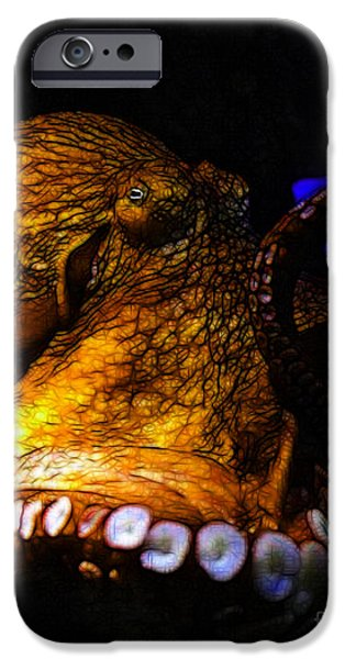 Creatures of The Deep - The Octopus - v6 - Gold iPhone Case by Wingsdomain Art and Photography