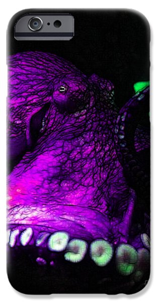 Creatures of The Deep - The Octopus - v6 - Violet iPhone Case by Wingsdomain Art and Photography