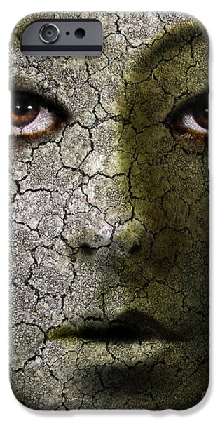 Ghastly iPhone Cases - Creepy Cracked Face With Tears iPhone Case by Jill Battaglia