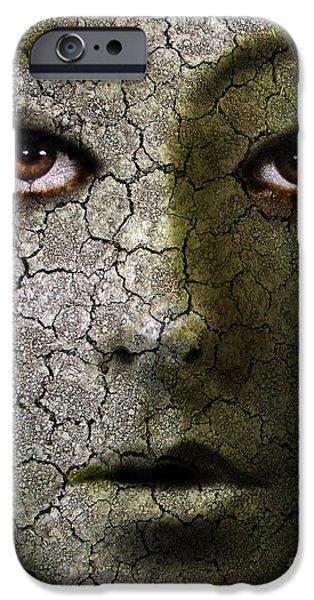 Creepy Cracked Face With Tears iPhone Case by Jill Battaglia