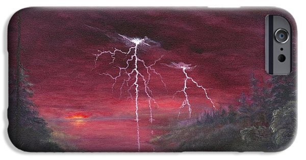 Electrical Paintings iPhone Cases - Crimson Dusk iPhone Case by Kent Nicklin