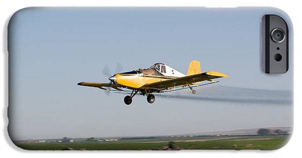 Daydreams Art Photographs iPhone Cases - Crop Duster Flying Over Farm  iPhone Case by Cindy Singleton