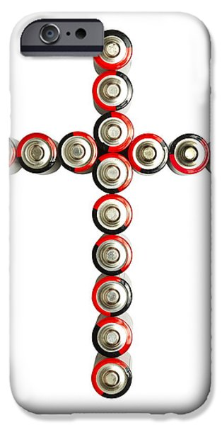 Cross Batteries 1 B iPhone Case by John Brueske