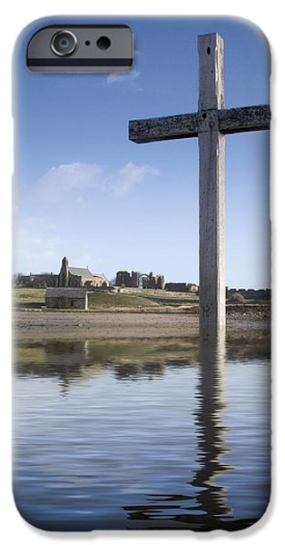 Design Pics - iPhone Cases - Cross In Water, Bewick, England iPhone Case by John Short